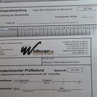 Prüfprotokolle von Wildburger & Zeller